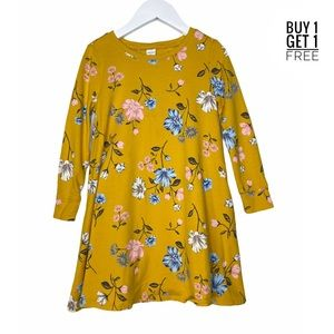Old Navy Girls Yellow Floral Long Sleeve Dress 5T